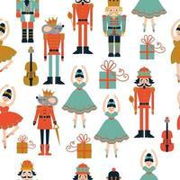 navidad, seamless, cascanueces, y, bailarina, patrón