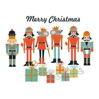 Christmas card with nutnutcracker, mouse king and presents vector