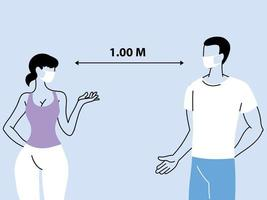 Social distancing between two people vector