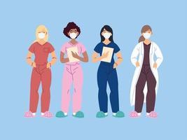 Healthcare workers, doctors and nurses vector