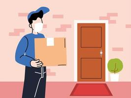 Courier with mask delivers goods to the door vector