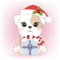 Little bulldog with gift box