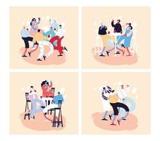 tarjetas con gente celebrando y usando mascarilla