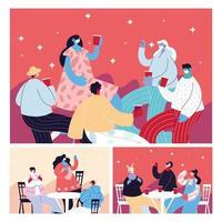tarjetas con gente celebrando y usando mascarilla vector