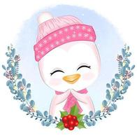 Baby penguin with wreath