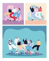 Cards with people celebrating and using face mask vector
