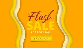 Paper cut style yellow Flash Sale design