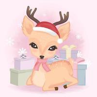 Deer and gift box for the Christmas season