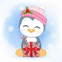 Little penguin with gift box