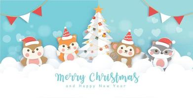 Christmas banner with a cute animals vector