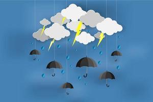 temporada de monzones con diseño de arte de papel de lluvia vector