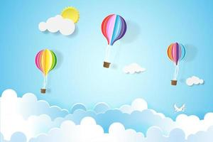 Colorful balloons in blue sky vector