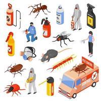 Isometric pest control icon set vector