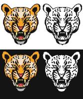 conjunto de arte de línea de leopardo