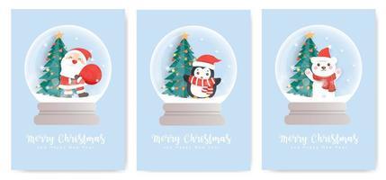 Set of snow globe Christmas cards vector