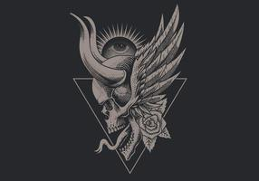 Winged vintage skull with horns over upside down triangle vector