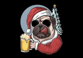 Pug dog with beer wearing Santa costume vector