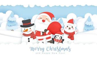 sanata y amigos navidad arte en papel escena de invierno
