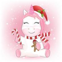Unicorn and gingerbread at Christmas season vector