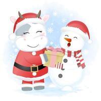 Christmas Santa cow giving snowman gift box vector