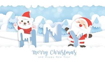 feliz año nuevo arte en papel escena de invierno