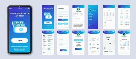 Blue gradient medicine UI smartphone interface vector