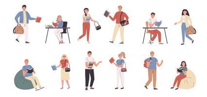 estudiantes y profesores en la biblioteca y en casa vector