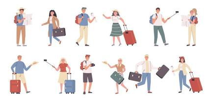 Tourists, male and female travelers flat character set vector