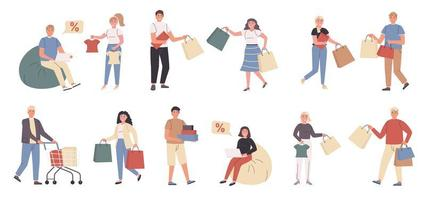 Shoppers, male and female customers flat character set vector