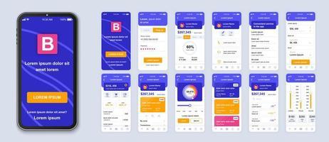 interfaz de teléfono inteligente ui bancaria azul, púrpura, rosa y naranja vector