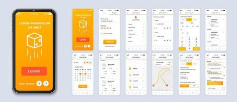 interfaz de teléfono inteligente aplicación móvil ui entrega degradado naranja vector