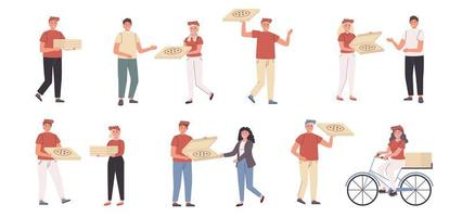Pizza deliverymen and customers flat character set vector