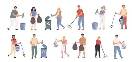 Volunteer work, city cleaning, trash collection flat character set vector