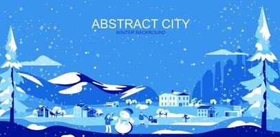 Blue toned suburban landscape with houses and people vector