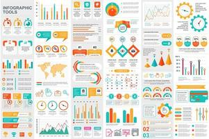Colorful infographic elements data visualization bundle