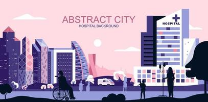 Pink and purple cityscape with medical clinic treatment center vector