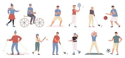 Summer and winter sports flat character set vector