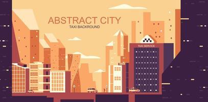 paisaje urbano en tonos naranja con taxis amarillos vector