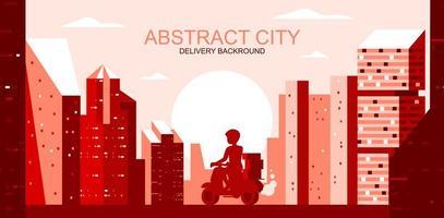 paisaje de la ciudad con mensajero en scooter en tonos rojos vector