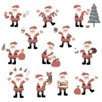 Santa claus cartoon characters set vector