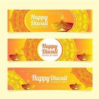 Gold Diwali Festival Banner Templates vector