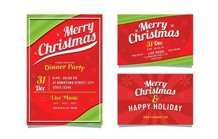 Green And Red Color Combination Christmas Invitation