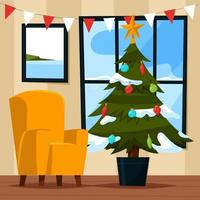 Decorated Christmas Tree in Livingroom