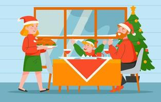 Celebrates Christmas Together with Special Dinner vector