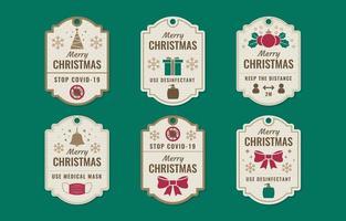 Christmas Label With Coronavirus Warning vector