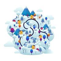 Winter Wonderland Scenery vector