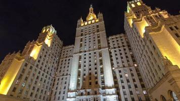 famoso arranha-céu de stalin em kudrinskaya square timelapse hyperlapse, Moscou, Rússia