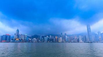 Hong Kong Victoria Harbour Cityscape Day To Night Time Lapse Of HongKong City, China (tilt down) video