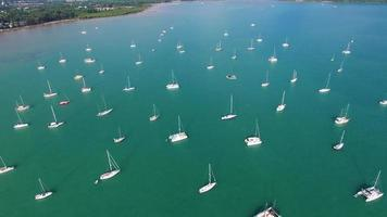 Aerial: Flying over many boats and ships in port. video