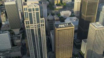 Aerial Downtown Seattle financial district, USA video